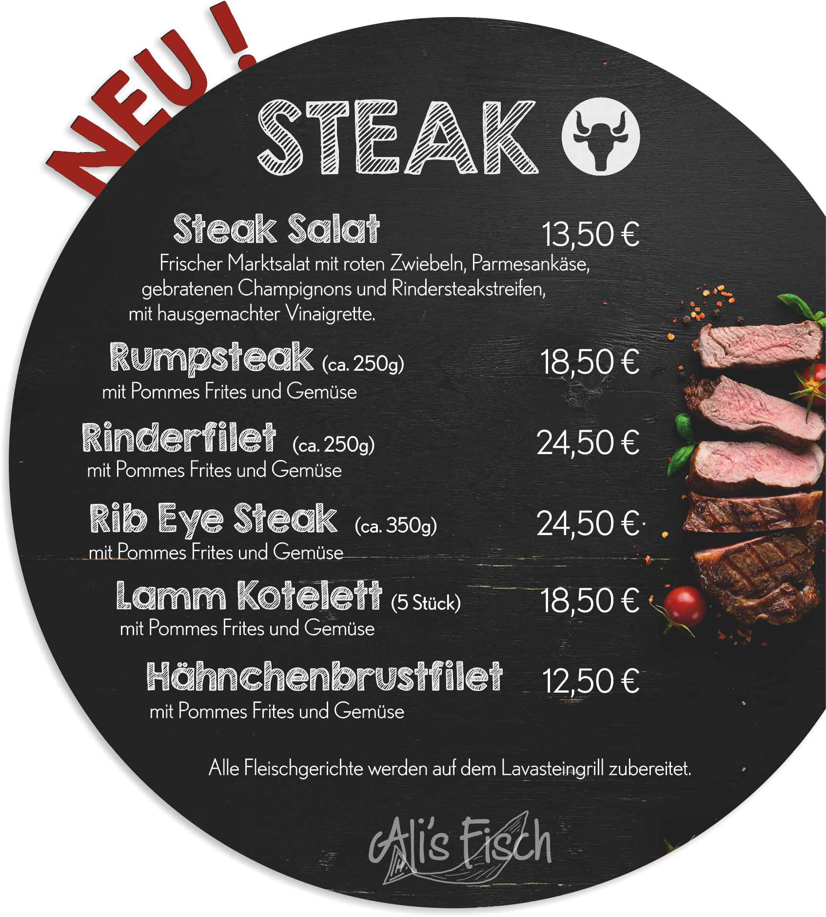 Speisekarte Alis Steak Web Modul 2019